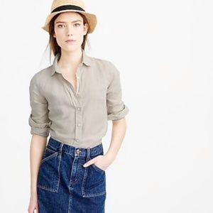 J. Crew Perfect Shirt in Cotton-Linen Crosshatch